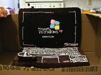 Торт ноутбук из мастики windows_xp
